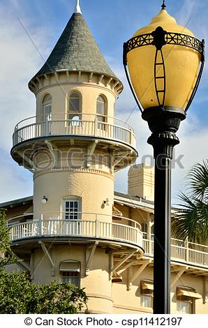 Stock Photographs of Old style lamp post.