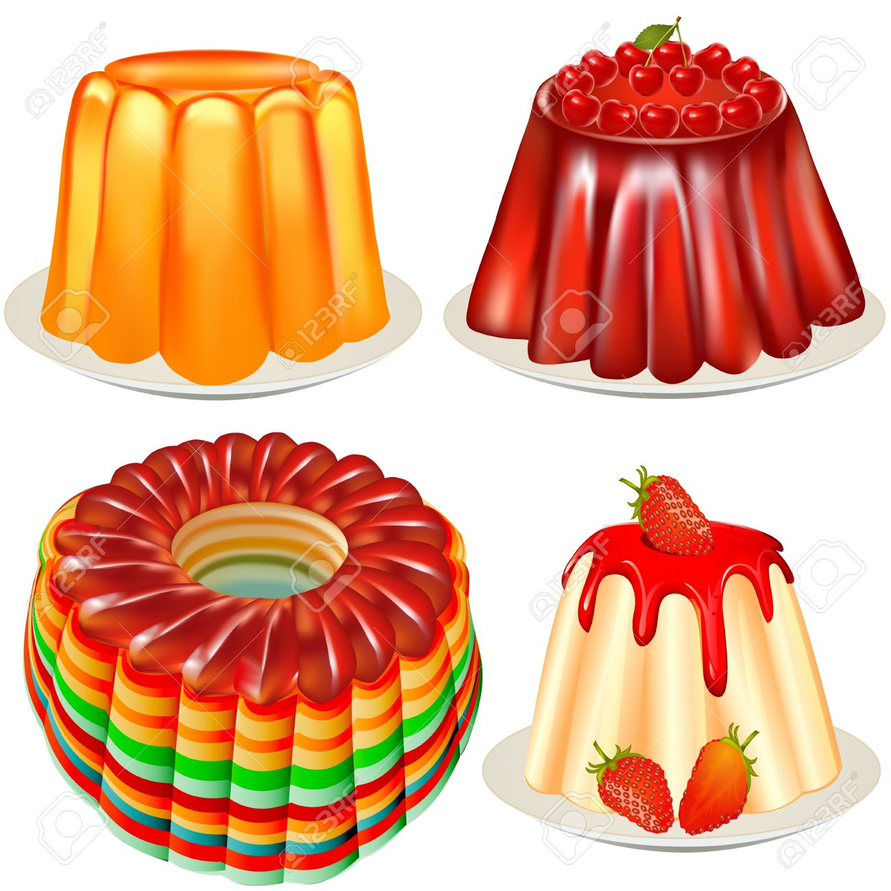 Illustration Kit Bright Festive Dessert Jelly With Cherry Royalty.