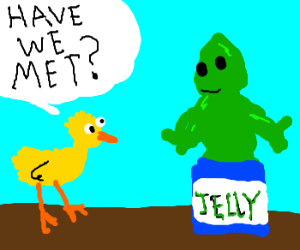 Chick doesn't know green jelly man (drawing by geoduck).