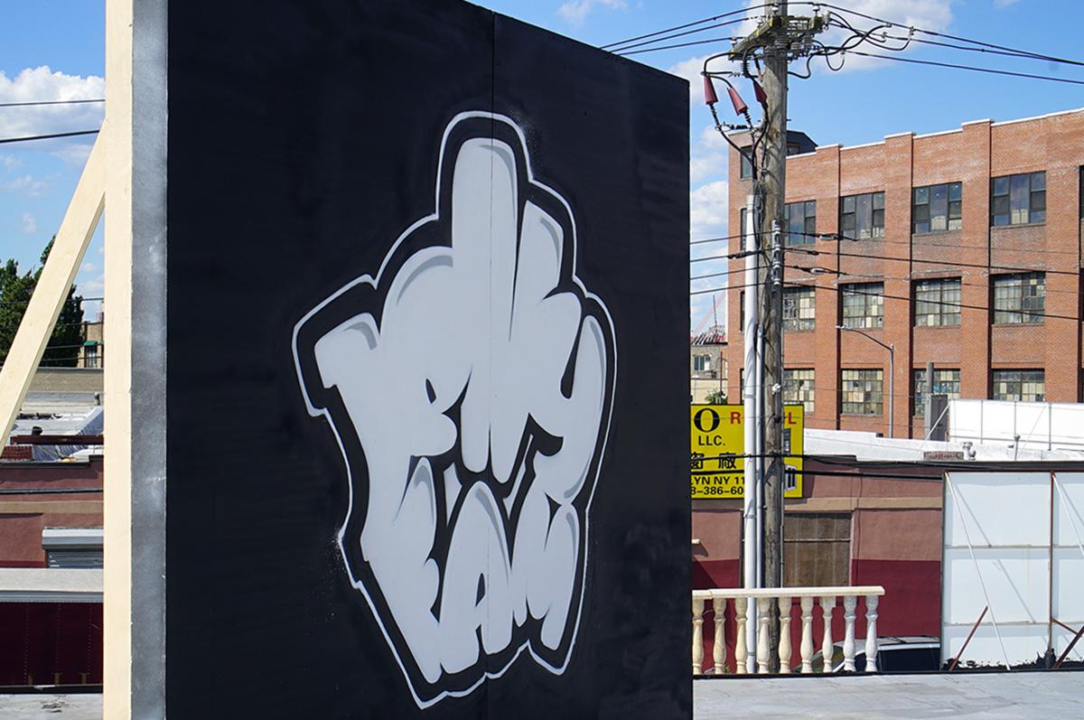 Spray Painted Graffiti Logo Jelly Fam NYC.