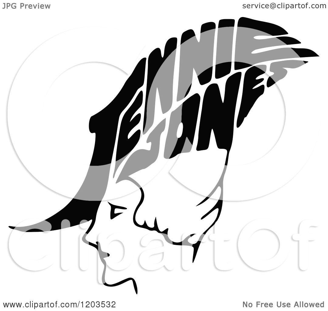 Clipart of a Vintage Black and White Jennie Jones.