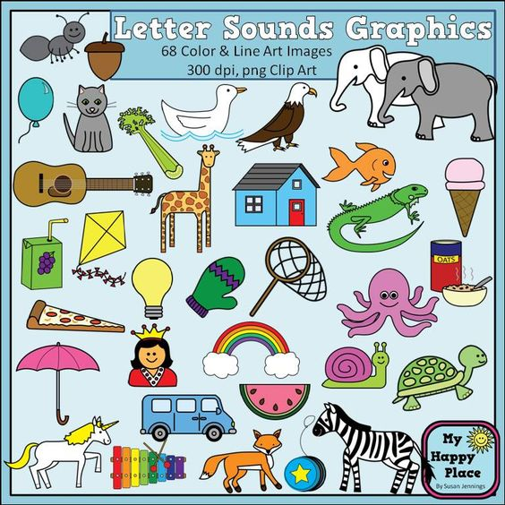 Alphabet Sounds Clip Art: Phonics Graphics for Commercial Use.