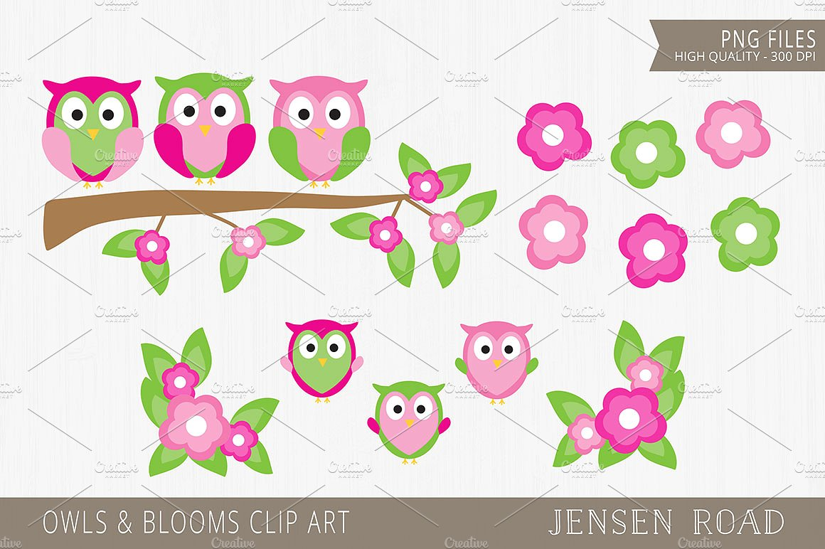 Owls & Blooms Clip Art ~ Illustrations on Creative Market.