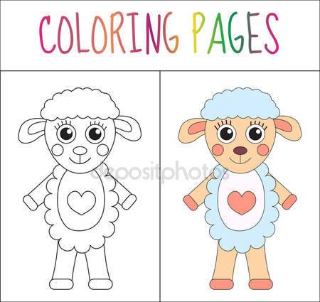 Owce zagroda zwierzę kolorowanki — Grafika wektorowa © izakowski.