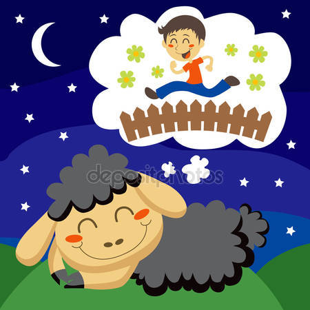 Trzy owce skoki przez płot. liczyć je do snu — Grafika wektorowa.