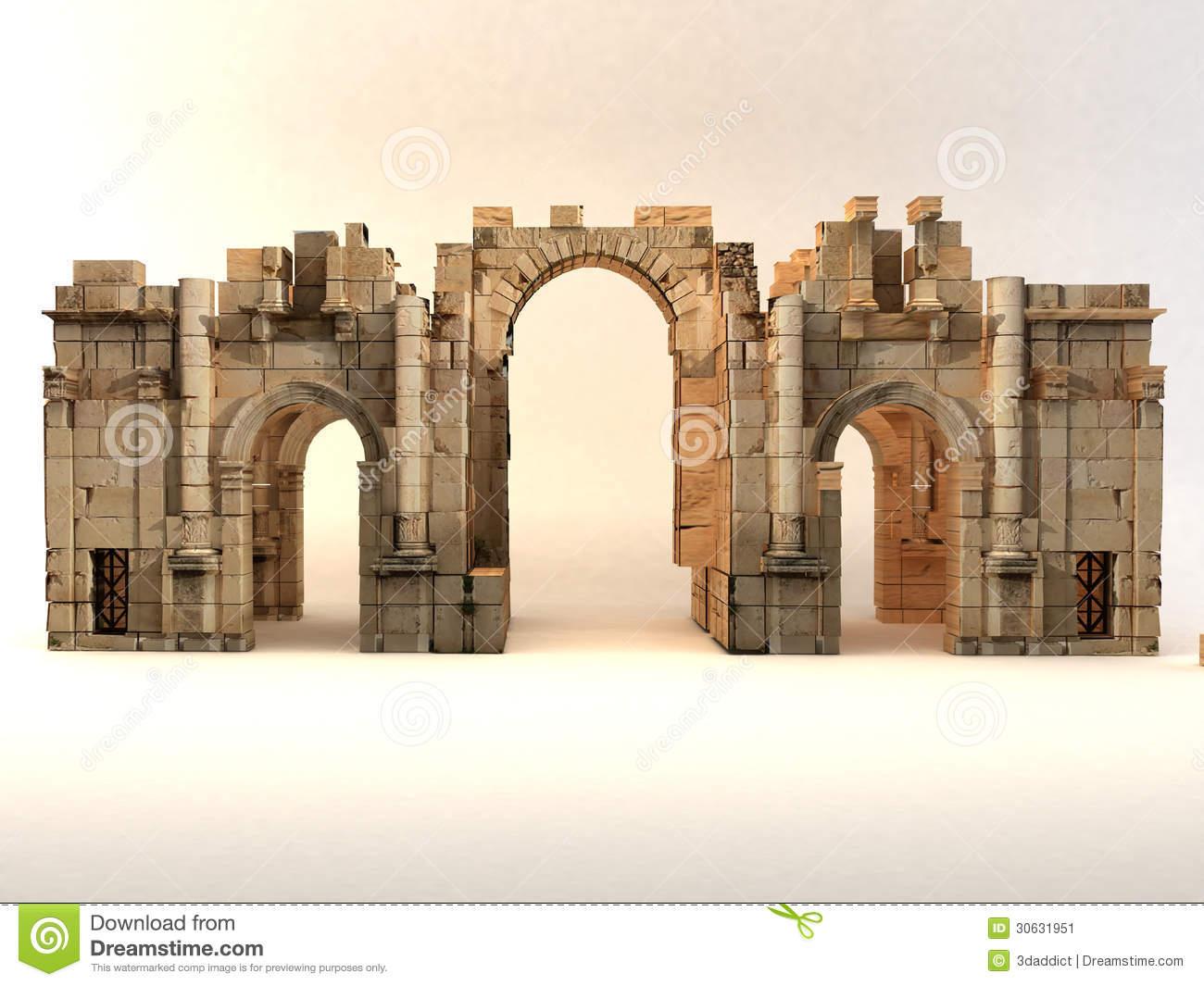 3D Roman Gate Stock Image.