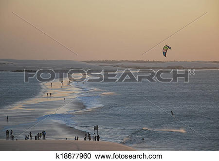 Stock Photography of Jericoacoara Beach seen from the dune top.