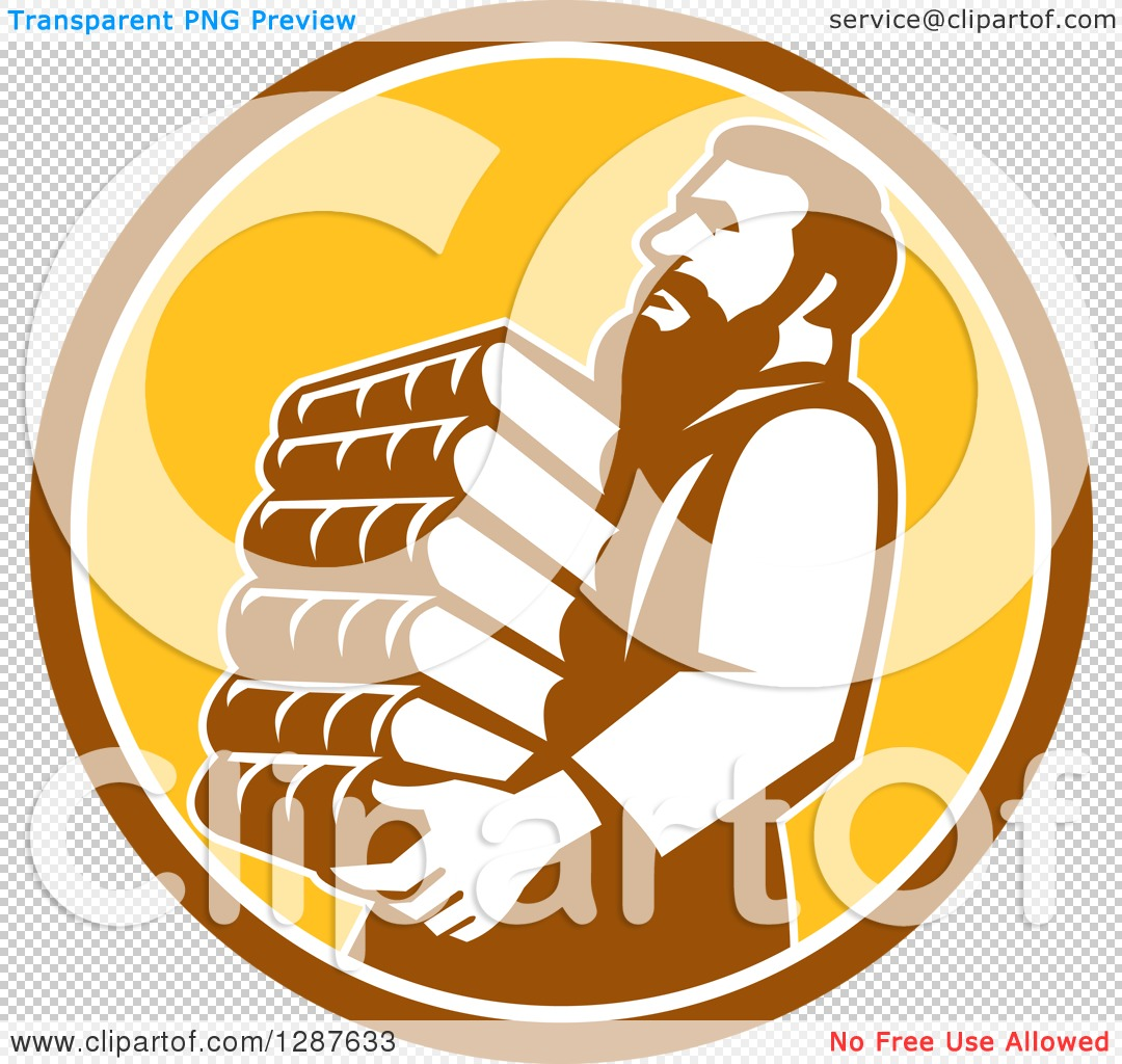 Clipart of Saint Jerome Carrying a Stack of Books in a Brown White.