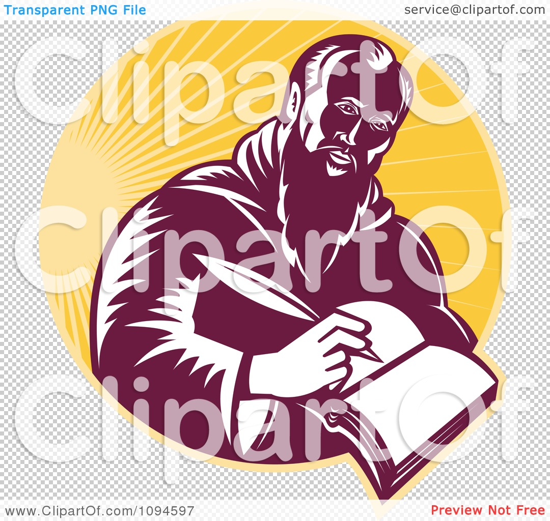 Clipart Retro Man Or St Jerome Writing In A Book Over Rays.