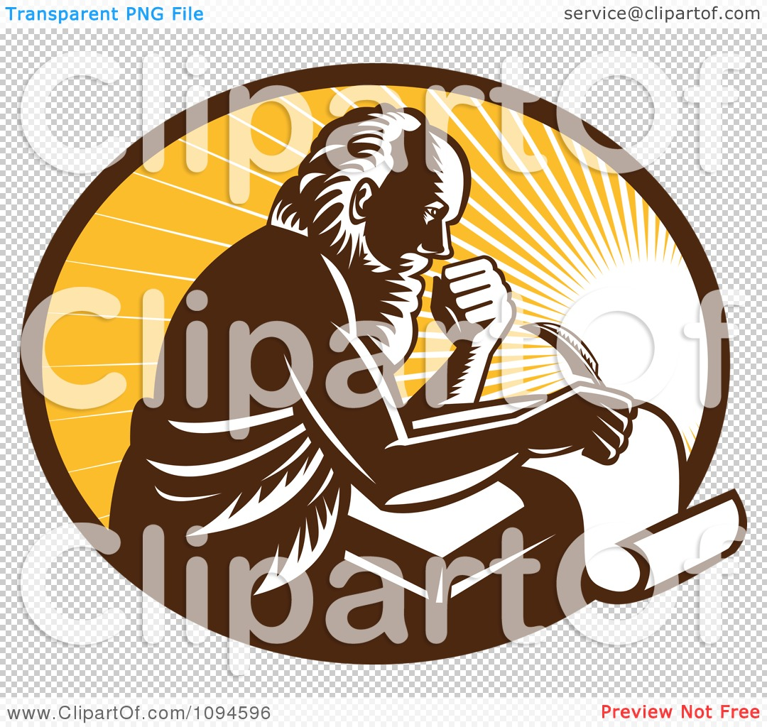 Clipart Retro Man Or St Jerome Writing On A Page Over Rays.