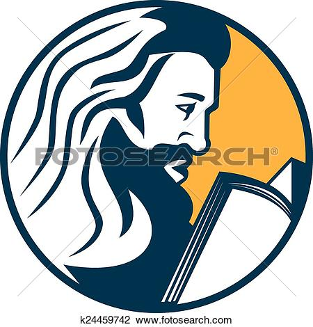 Clipart of Saint Jerome Reading Bible Retro k24459742.
