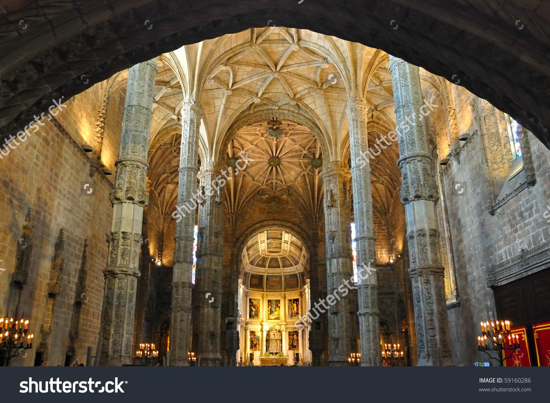 Interior Church Jeronimos Monastery Stock Photo 59160286.
