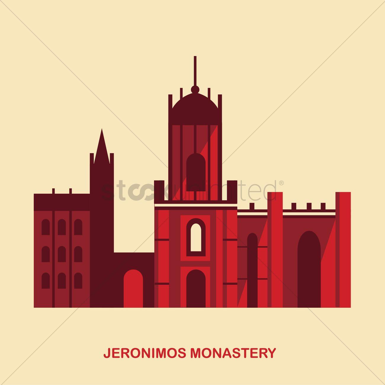 Jeronimos monastery Vector Image.