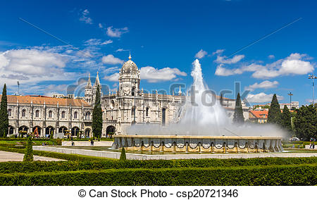 Stock Photo of Fountain in front of Jeronimos Monastery in Lisbon.