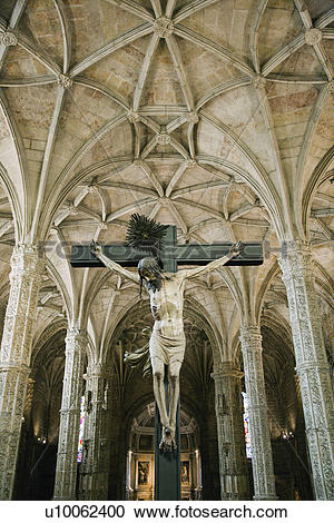 Stock Photography of Crucifixion scene in Jeronimos Monastery in.