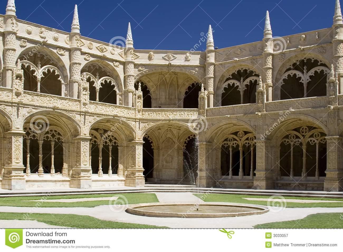 Jeronimos Monastery Cloister Royalty Free Stock Photography.