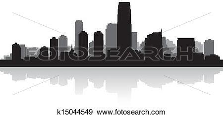 Clip Art of Jersey city skyline silhouette k15044549.
