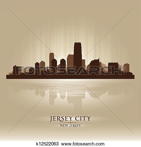 Clipart of Jersey City, New Jersey skyline city silhouette.