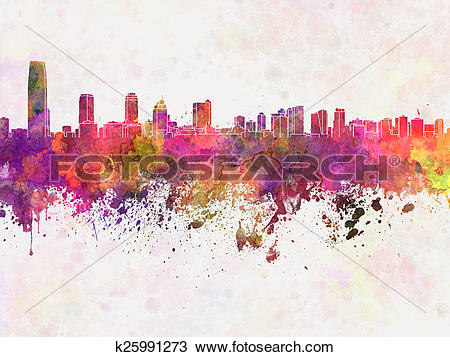 Drawing of Jersey City skyline in watercolor background k25991273.