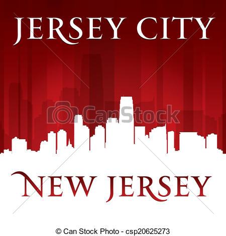 Vectors Illustration of Jersey city New Jersey skyline silhouette.