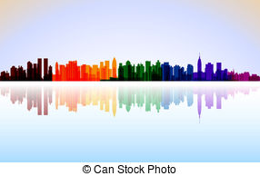 Vector Clip Art of Jersey City, New Jersey skyline. Detailed.