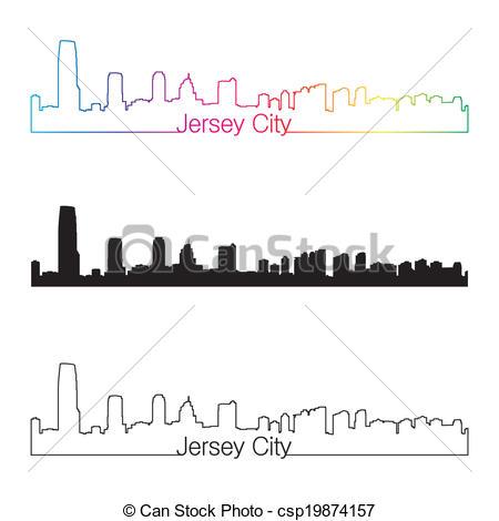 Jersey city skyline Stock Illustrations. 69 Jersey city skyline.