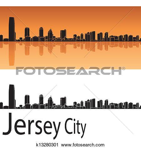 Clipart of Jersey City skyline in orange background k13280301.