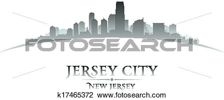 Clipart of Jersey city New Jersey skyline silhouette white.