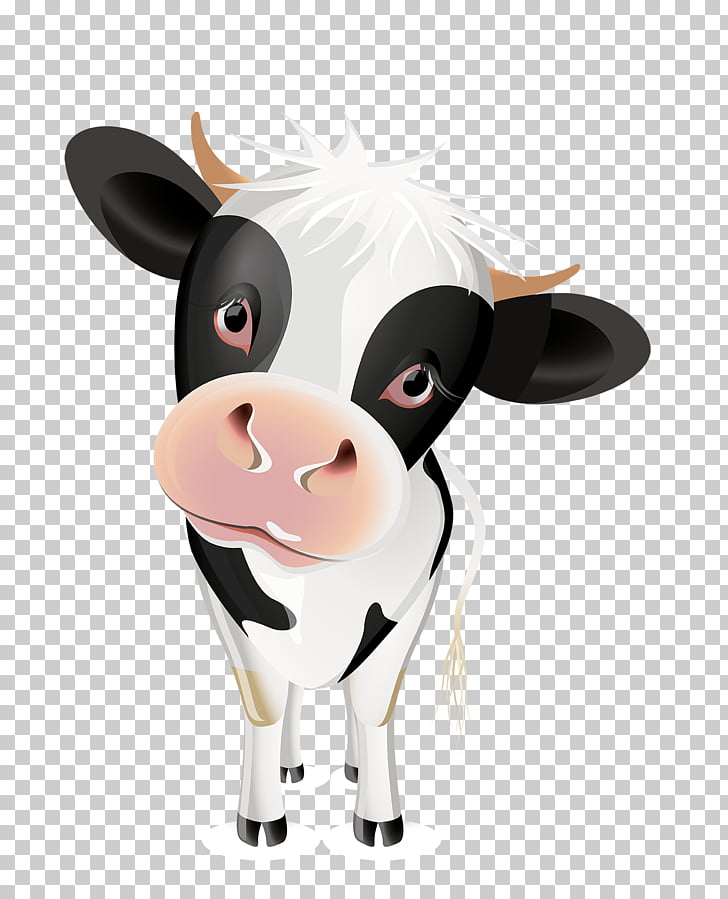 Jersey cattle Milk , Cartoon cow, white and black cow PNG.