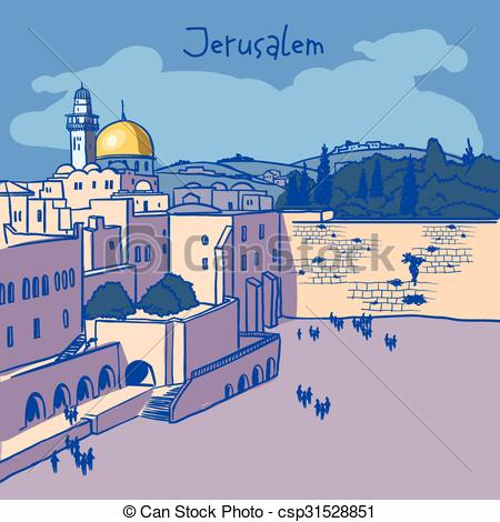 Clipart Vector of Jerusalem, Israel old city skyline. Wailing wall.