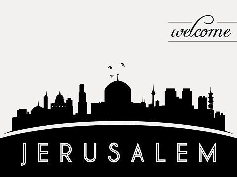 Jerusalem wall silhouette clipart.