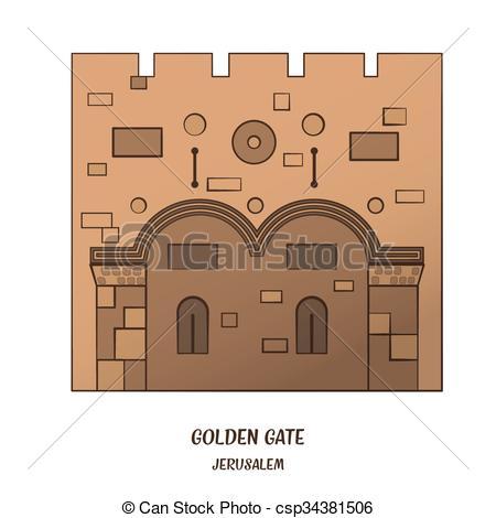 Vector Clipart of Golden Gate in Jerusalem.