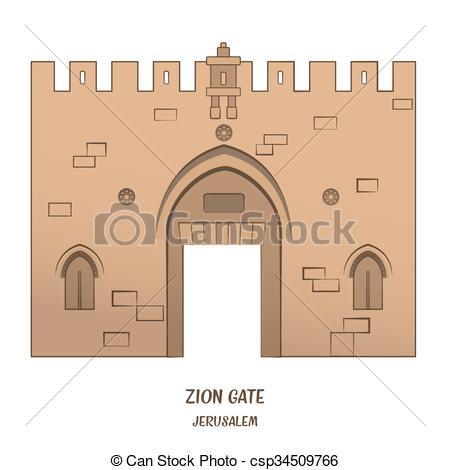 Clip Art Vector of Jaffa Gate in Jerusalem.