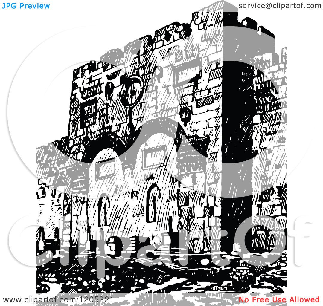 Cartoon of a Vintage Black and White Jerusalem Golden Gate.