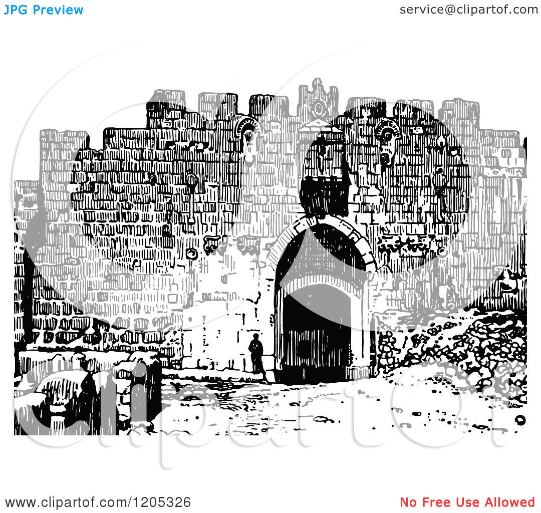 Cartoon of Vintage Black and White St Stephens Gate Jerusalem.