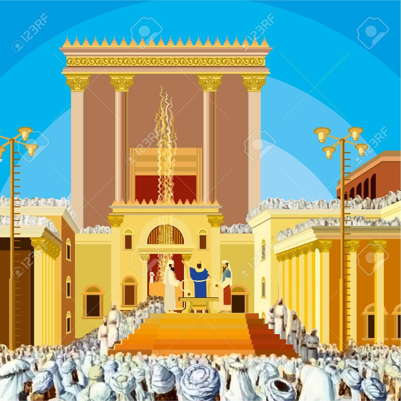 Jerusalem Temple. A scene of a Jewish King long ago in the era...