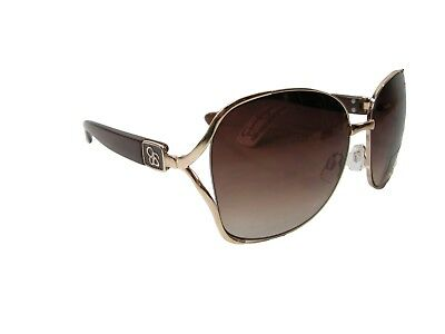Jessica Simpson Logo Sunglasses Brown Gold Vented Open Sides Designer NWT.