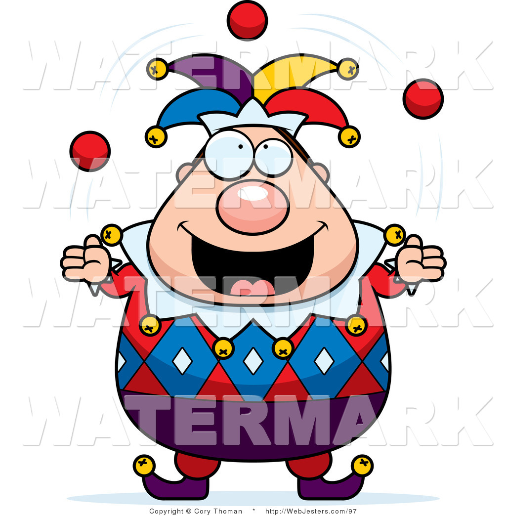 Clipart of a Pudgy Male Jester Juggling by Cory Thoman.