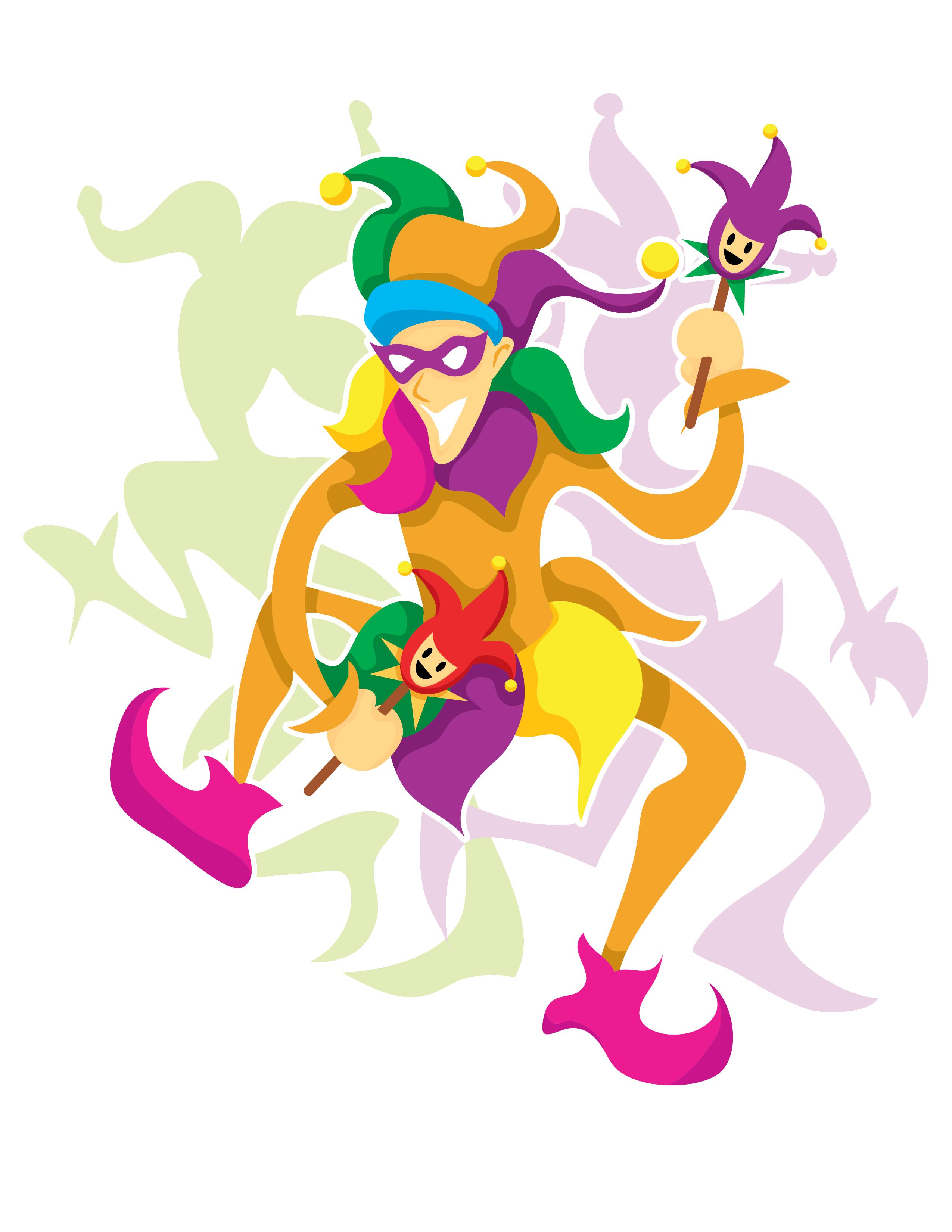 Mardi Gras Dancing Jester Clip Art.
