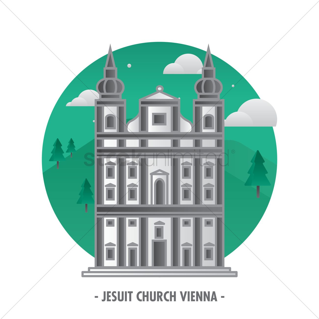 Jesuit church vienna Vector Image.