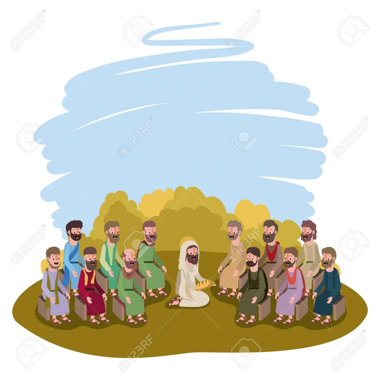 Jesus Christ praying with apostles biblical scene vector illustration...