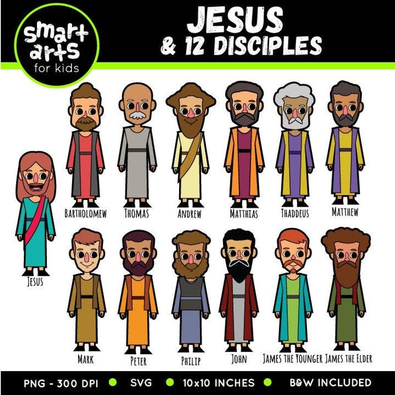 Jesus and 12 Disciples Clip Art.