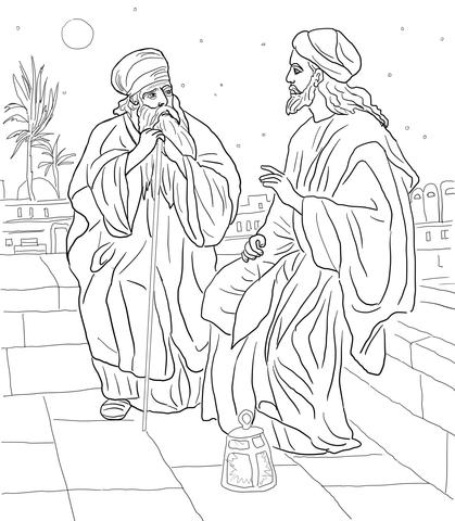 Jesus and Nicodemus coloring page.