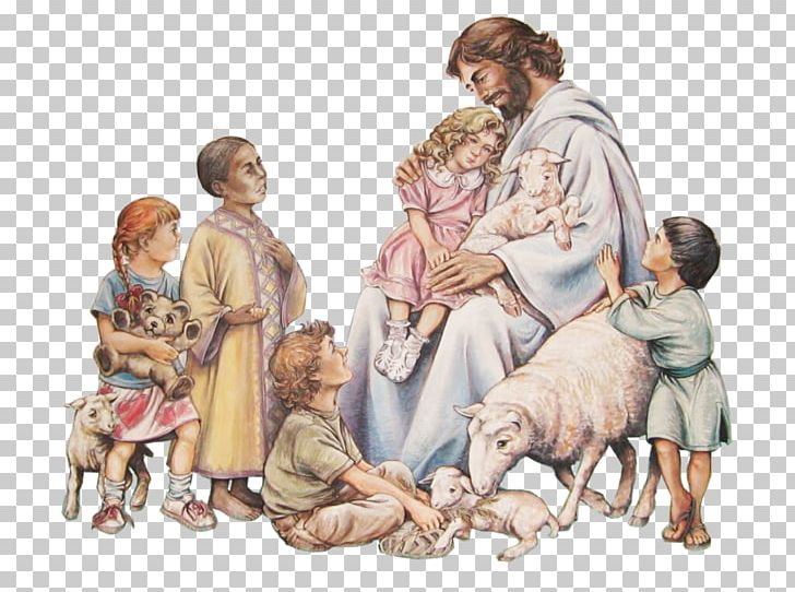 Bible Teaching Of Jesus About Little Children Mural PNG.
