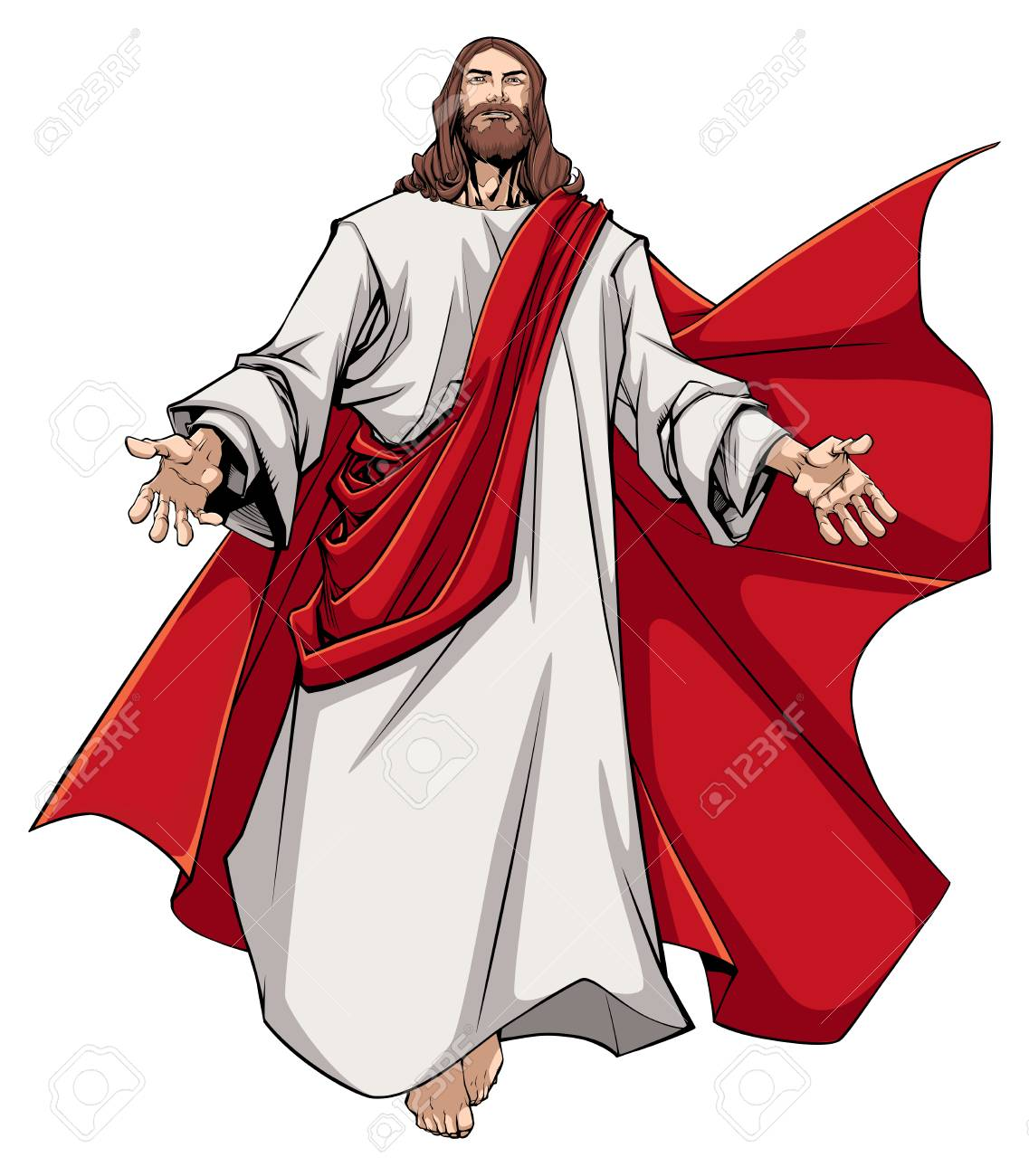 Illustration of Jesus Christ greeting you with open arms..