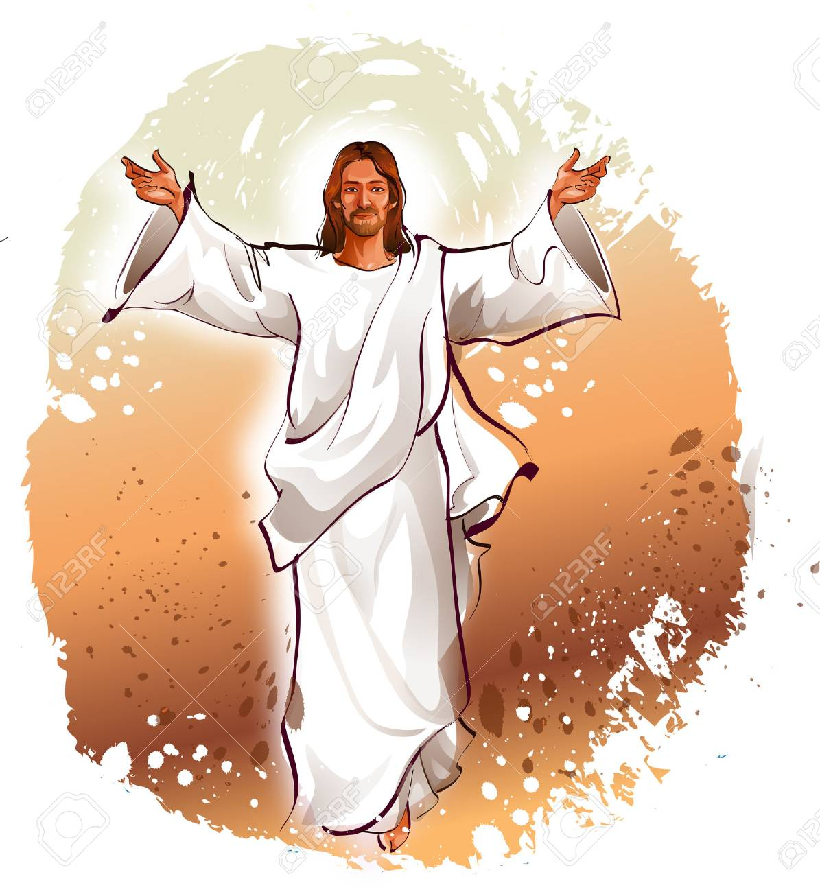 Jesus Christ blessing with his arms outstretched.
