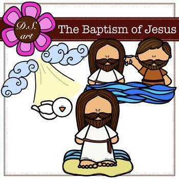 The Baptism od Jesus Digital Clipart (color and black&white).