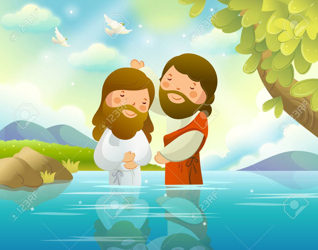 Baptism of Jesus Christ by John the Baptist.