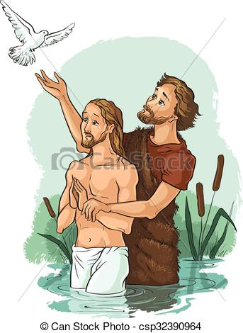 Clip Art Vector of Baptism of Jesus Christ.