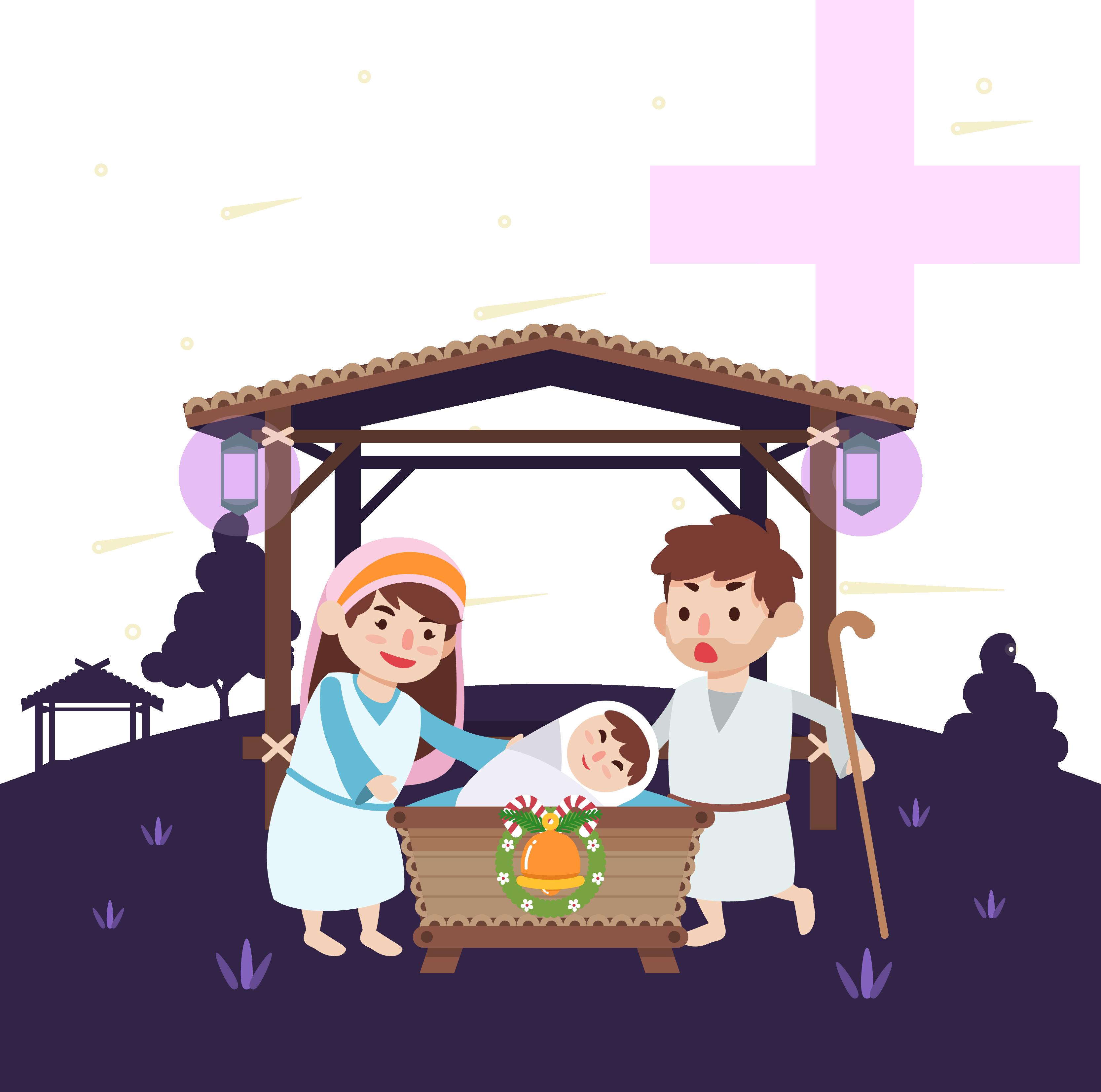 Nativity of Jesus Birth Illustration.
